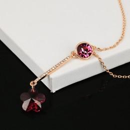 Collier Fleur Rouge Framboise Cristal Swarovski Eléments