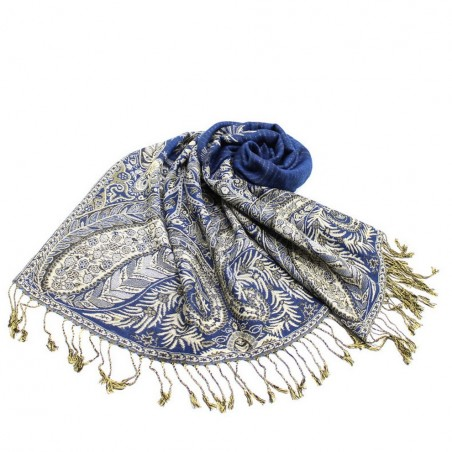 Etole Chale Echarpe Pashmina Bleu Saphir Réversible Avec Franges