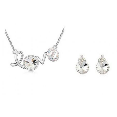 Parure LOVE plaqué Or Ornée de cristaux SWAROVSKI ELEMENTS