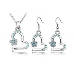 Parure pendentif Cœur Ornée de cristaux SWAROVSKI ELEMENTS Aquamarine