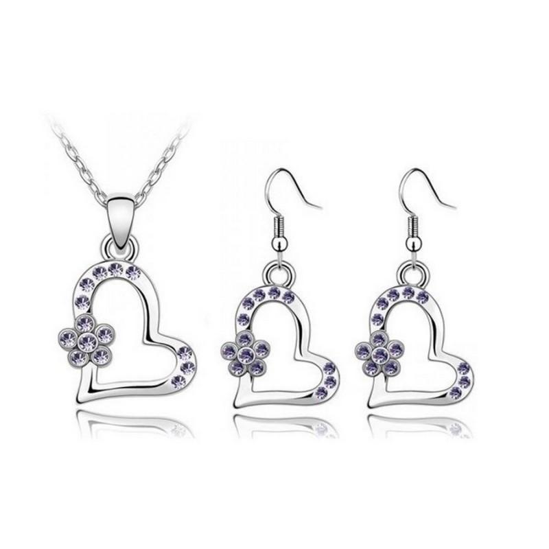 Parure pendentif Cœur Ornée de cristaux SWAROVSKI ELEMENTS Violet - Tanzanite