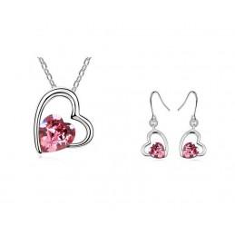 Parure coeur plaqué or Ornée de cristaux SWAROVSKI ELEMENTS Rose