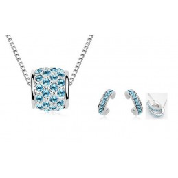 Parure Shamballa Plaqué Or Ornée de cristaux SWAROVSKI ELEMENTS Aquamarine