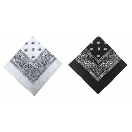 Bandana Autour du cou 100% cotton Noir et Blanc