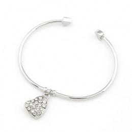 Bracelet Argenté Pendentif Coeur