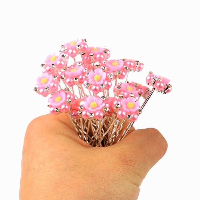Pince Chignon Pic Épingle à Cheveux Mariage Perles et Strass Rose x10