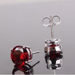 Boucles d'oreilles rondes plaqué or zirconia rouge
