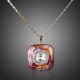 Collier carré émail orné de cristaux Swarovski Eléments