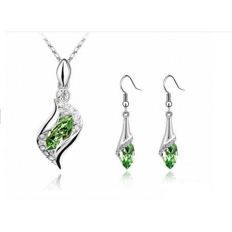 Parure Cristal Vert Foncé