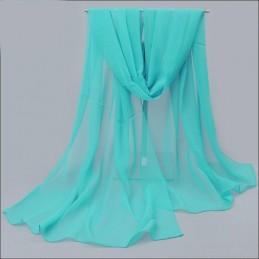 Foulard Femme Echarpe Etole Scarf Mousseline Uni Bleu Aquamarine 150*100cm