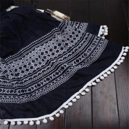 Foulard Etole Echarpe En Coton Bleu Marine Brodé Avec Pompoms