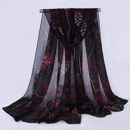 Foulard Echarpe Mousseline Multicolore Imprimé Floral Noir, Rose Fushia