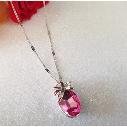 Collier Cristal Papillon Rose