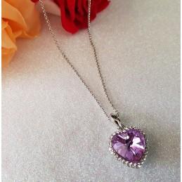 Collier Coeur Cristal Pourpre