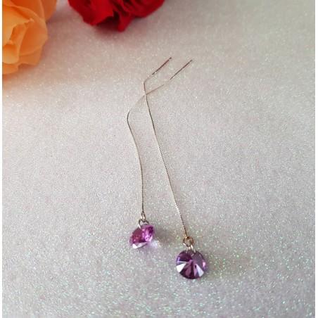 Longues Boucles d'oreilles plaqué argent couleur violet