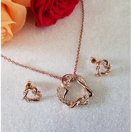 Parure Coeur Ornée de cristaux blancs diamant