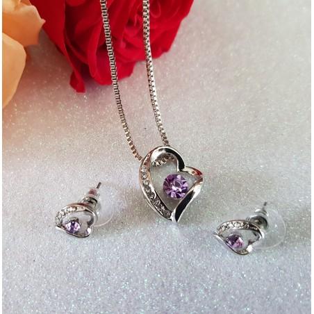 Parure coeur plaqué platine ornée de cristaux pourpres