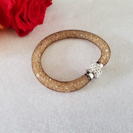 Bracelet marron aimanté avec poussières d'étoiles