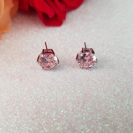 Boucles d'oreilles rondes zirconia rose