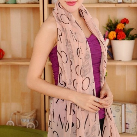 Foulard Mousseline léger polyester Rose Motif Paris