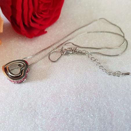 Collier Double Coeur Orné de Cristaux Roses