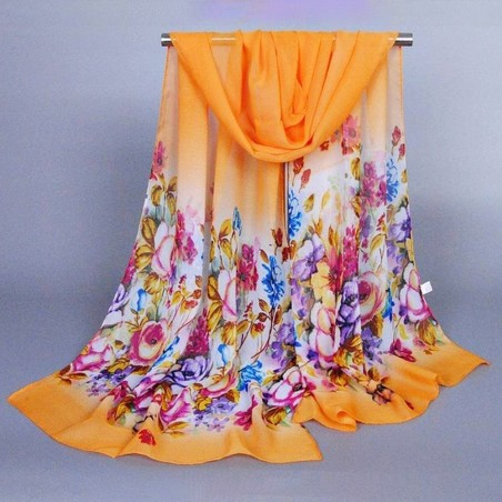 Foulard Mousseline  Multicolore Imprimé Sur Fond Orange