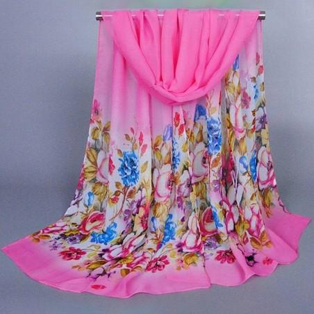 Foulard Multicolore Imprimé Mousseline Sur Fond Rose