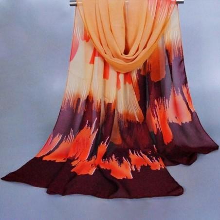 Foulard multicolore imprimé mousseline orange et auburn