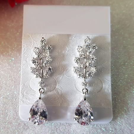 Boucles d'Oreilles Zirconia Blanc Diamant