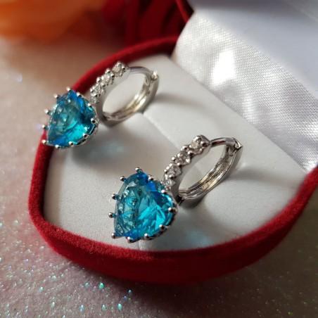 Boucles D'oreilles dormeuses Oxydes De Zirconium - Bleu Azur