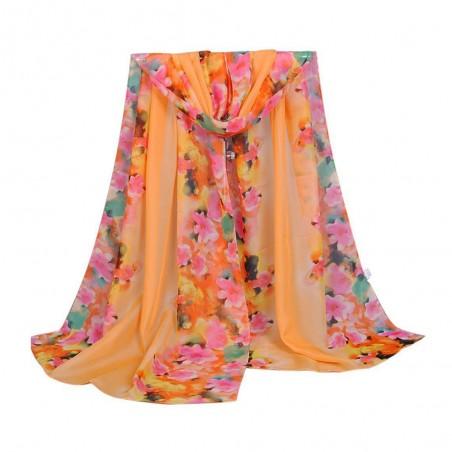 Foulard femme Mousseline Motif Floral Orange Multicolore