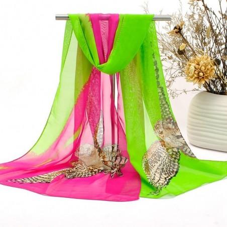 Foulard Femme Echarpe Etole Scarf Mousseline Chouette Rose Fushia et Vert Fluo