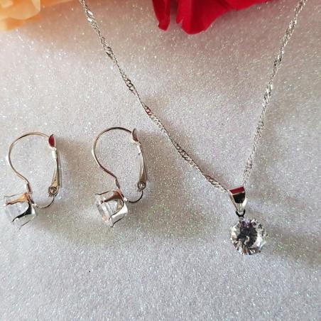 Parure en plaqué argent serties d'oxydes de zirconium blanc diamant