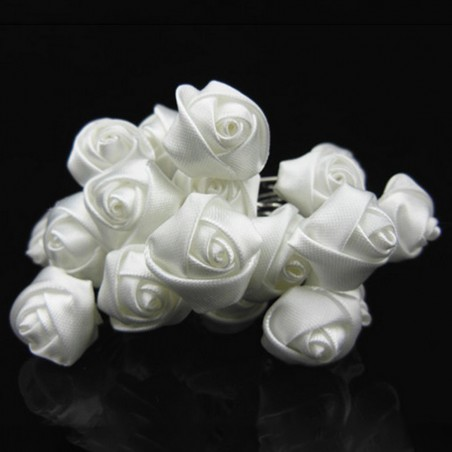 Épingles Chignon Pinces Pics Cheveux Mariage Roses En Satin Blanc x 10