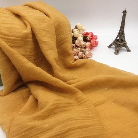 Grand Foulard Echarpe Chèche Etole Femme Jaune Ocre avec Paillettes
