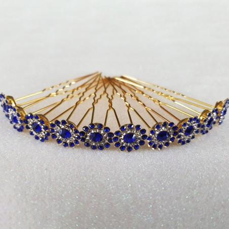 Epingles Pics Pinces Chignon Cheveux Mariage Strass Bleu Lot de 10