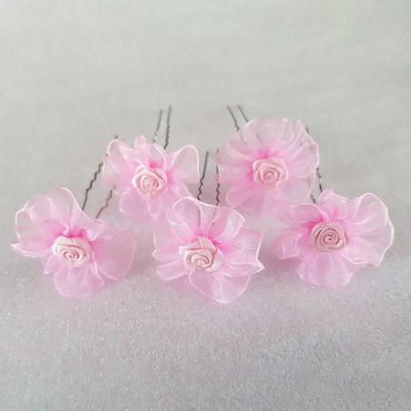 Epingles Cheveux Chignon Pics Mariage Satin Organza Rose