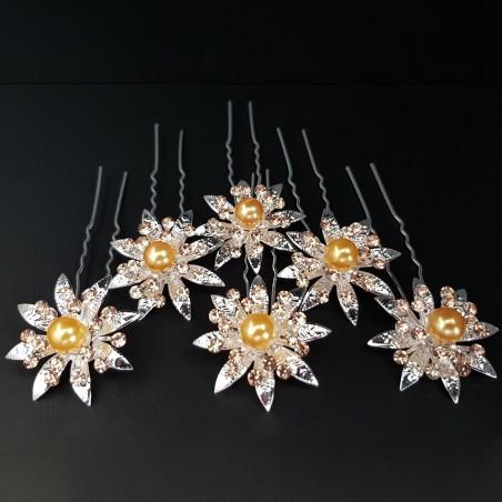 Epingles à Chignon Pics Pinces Mariage Perles & Strass Jaune Vénitien X 6