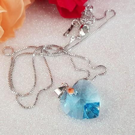 Collier Coeur Orné De Cristaux Autrichiens Bleu Aquamarine