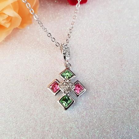 Collier Plaqué Or Orné de cristaux Autrichiens Couleur Rose et Vert