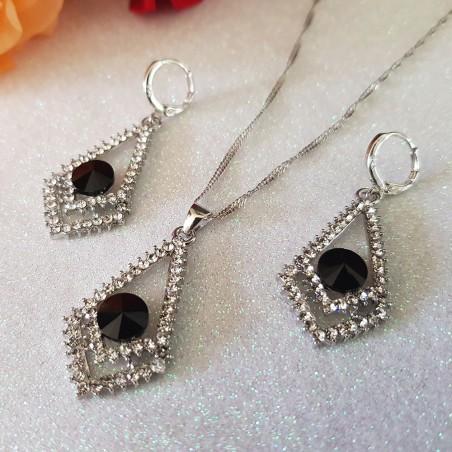 Parure en plaqué argent serties d'oxydes de zirconium noir et blanc diamant