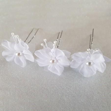 Epingles Cheveux Chignon Pinces Pics Mariage Perles Organza Blanc X 3