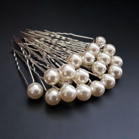 Épingles à Cheveux Chignon Mariage Perles De Couleur Blanc d'Ivoire x10