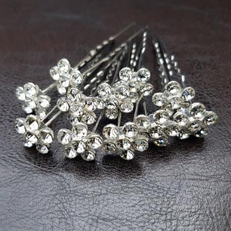 Épingles à Cheveux Chignon Mariage Strass Couleur Blanc Diamant x10