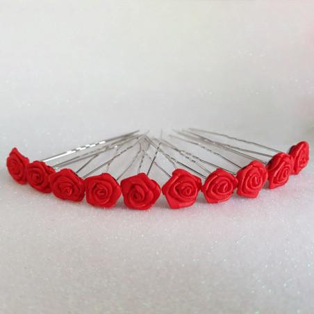 Épingles à Cheveux Chignon Mariage Roses Satin Rouge x 10