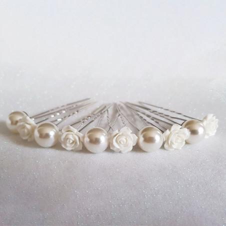 Épingles à Cheveux Chignon Mariage Fleurs & Grosses Perles Blanches X 10