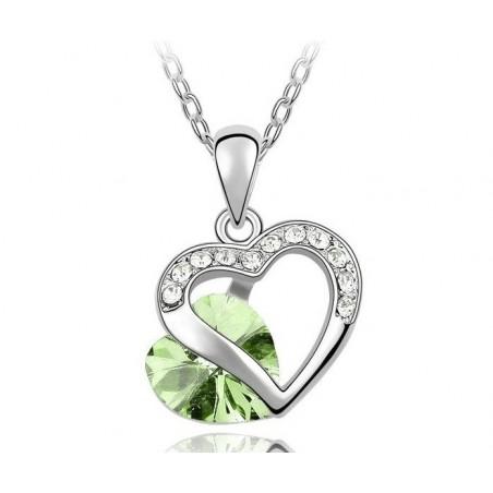 Collier Cristal Coeur Couleur Vert Péridot