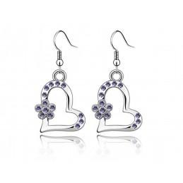Boucles d'oreilles Coeur Cristal Violet