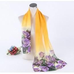 Foulard Multicolore Imprimé Mousseline Violet et Jaune