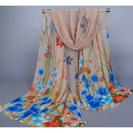 Foulard Multicolore Imprimé Mousseline Beige